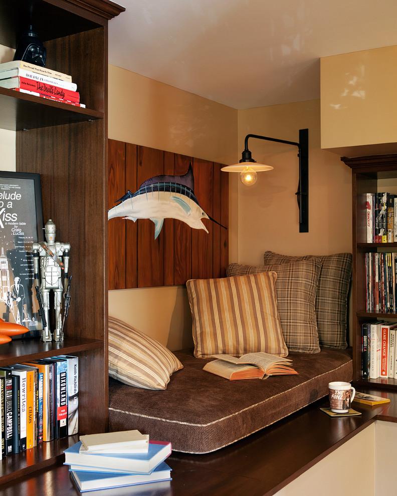 Example of an eclectic dark wood floor home office design in Los Angeles with beige walls