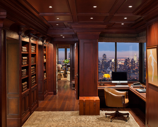 Manhattan central park penthouse traditional home office new york by robert granoff - Traditional home office design ...