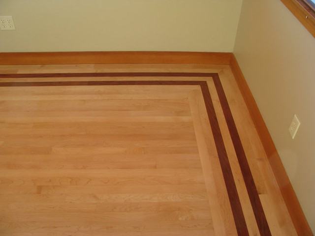 Maple floor with Brazilian Cherry Border contemporary-home-office
