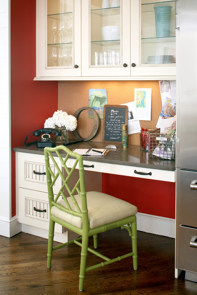 Example of a large beach style medium tone wood floor home office design in Boston