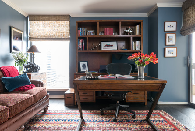 Masculine Home Office In Luxe Transitional Hi Rise Residence Traditional Home Office