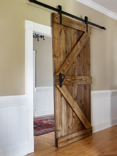 Masculine office space rustic home office atlanta for Barn doors for home office