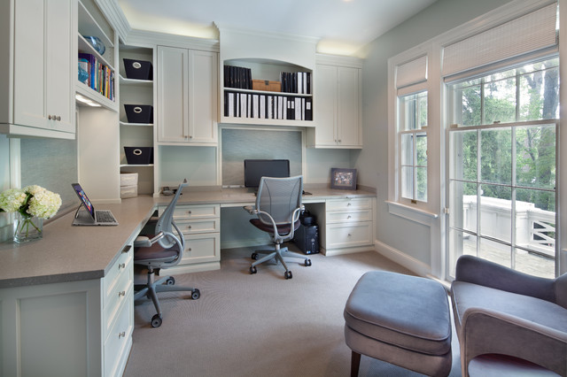 Example of a transitional built in desk home office design DC Metro In Stock Cabinets Home Office Ideas  Photos Houzz