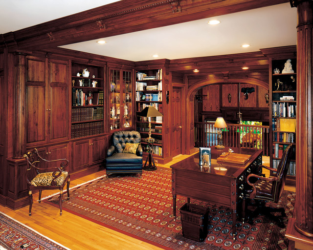 Matteo library / den - Traditional - Home Office - New York - by Odhner u0026 Odhner Fine ...
