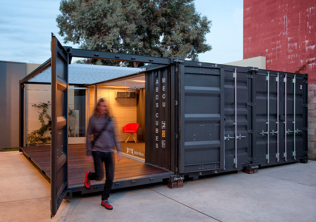Me ou shipping container office industrial home office santa barbara by cubedepot - Container store home office ...