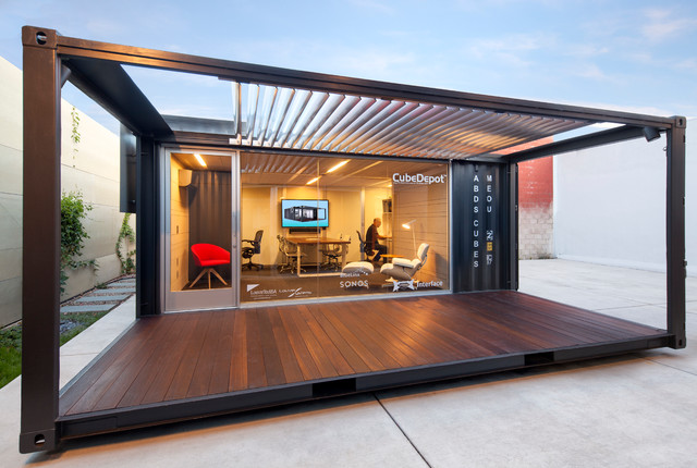 ME:OU Shipping Container Office   Front View Industrial Home Office