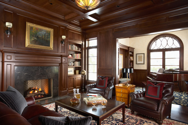 Merilane Avenue Residence 2 Library traditional-home-office