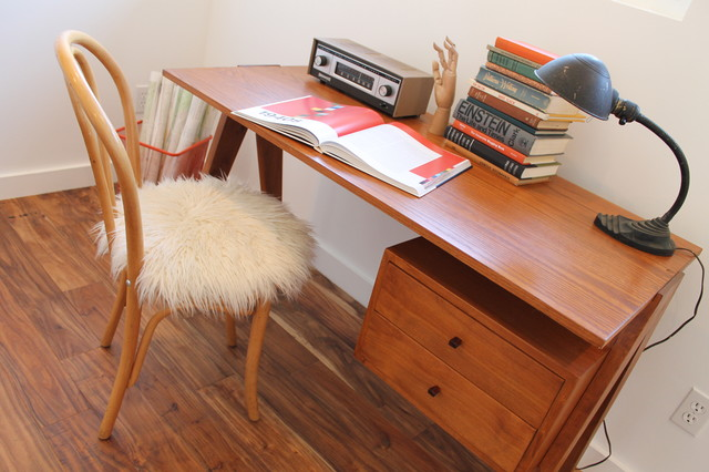 mid century modern desk with flokati upholstered bentwood chair modern home office chair mid century office