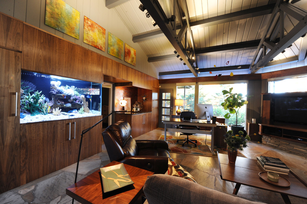Inspiration for a mid-century modern home office remodel in Minneapolis