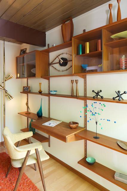 Mid Century Modern Shelving Unit With Desk Modern