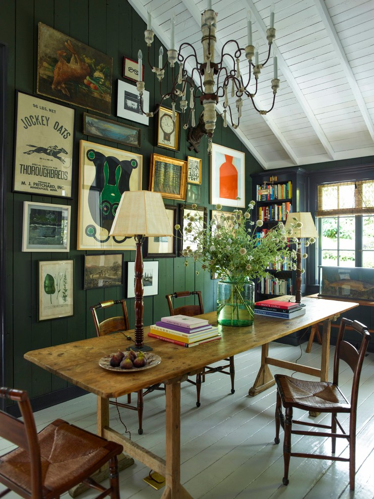 Mid-sized eclectic freestanding desk painted wood floor study room photo in San Francisco with green walls