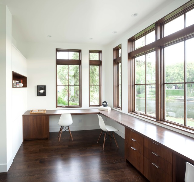 Minnehaha creek transitional contemporary home office for Home office design ltd
