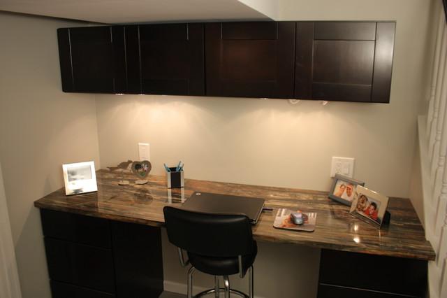 mocha shaker cabinets man space modern home office cabinets modern home office