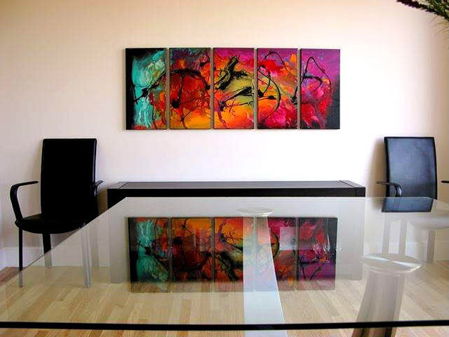 Modern abstract paintings contemporary home office new york by