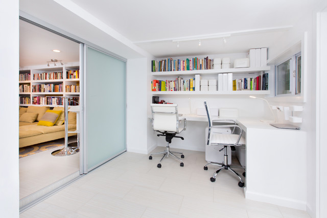 modern basement remodel contemporary home office library dc
