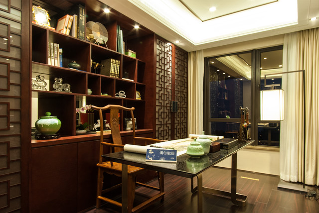 Modern chinese style asian home office library for Asian office decor