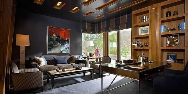Modern Desert Home Contemporary Home Office Orange