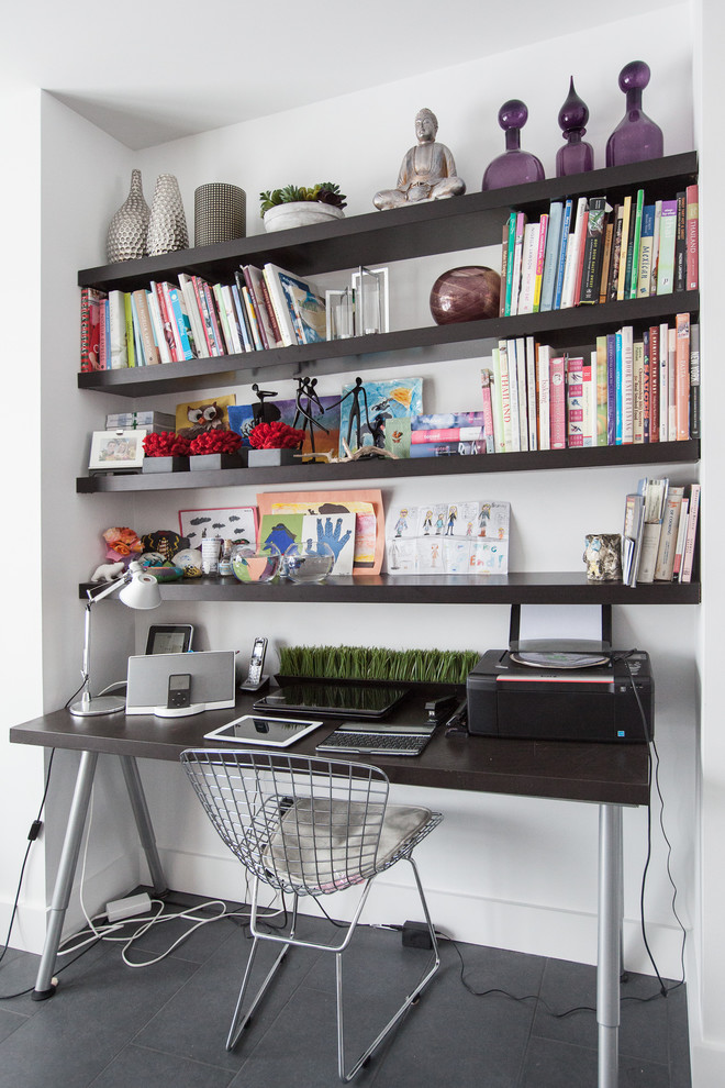 Inspiration for a contemporary freestanding desk gray floor home office remodel in Other with white walls