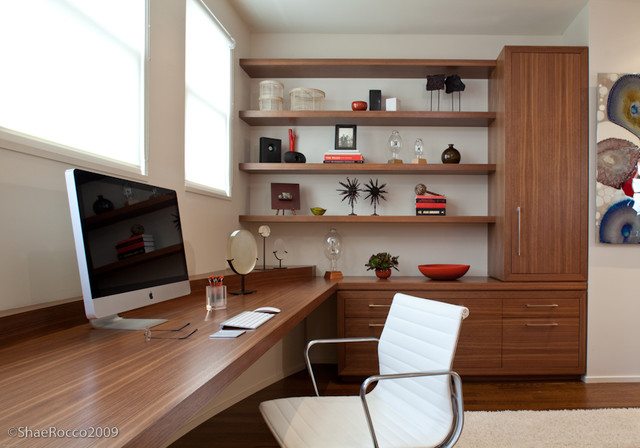 Modern Home Office With Built In Desk Storage