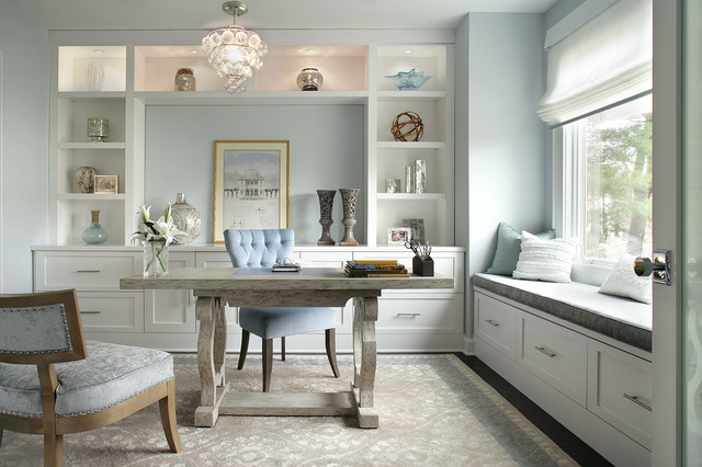 Inspiration For A Transitional Home Office Remodel In New York With Blue  Walls