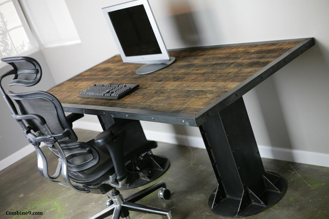 Modern industrial desk table steel i beam urban loft - Table basse metal industriel loft ...