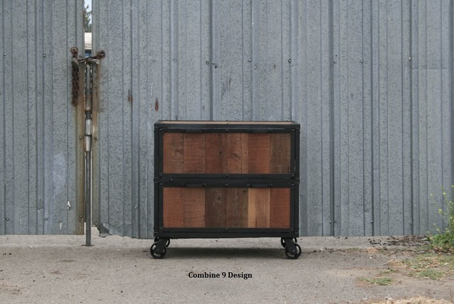 Modern Industrial File Cabinet. Reclaimed Vintage Wood. Filing Cabinet.  modern-home-