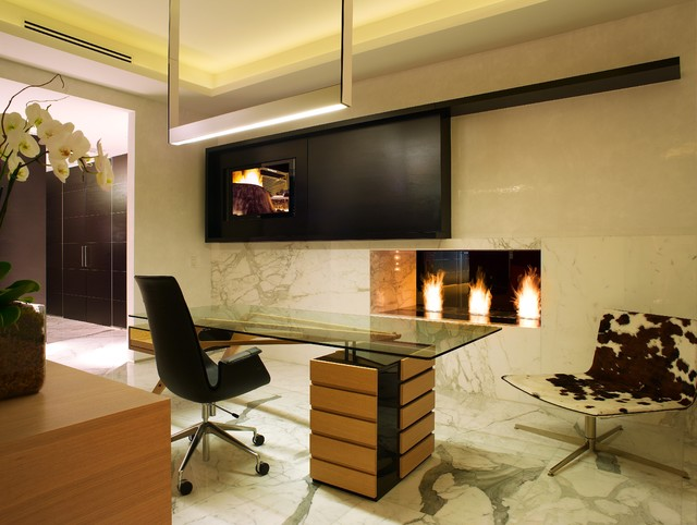 Modern Linear Fireplace modern-home-office
