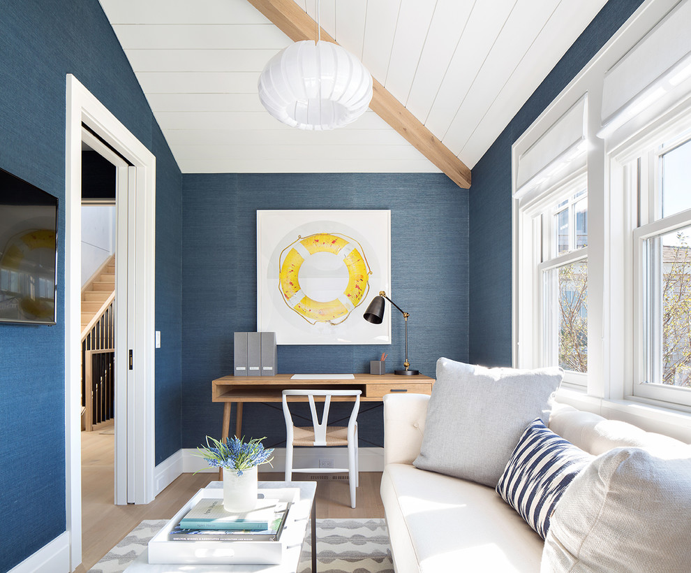 Beach style home office photo in Boston