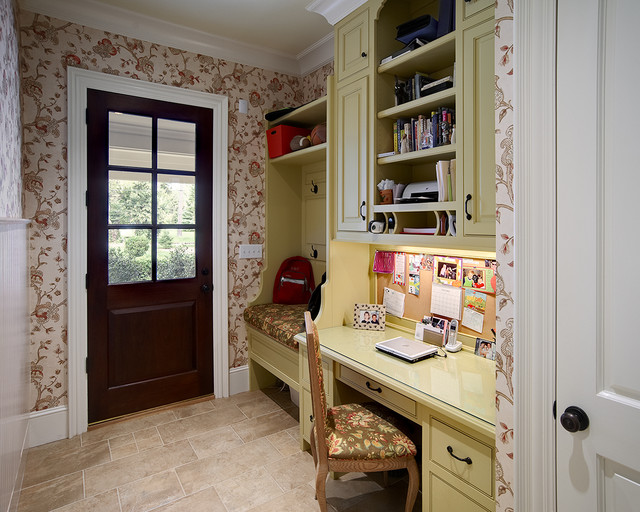 Inspiration for a small timeless built-in desk home office remodel in Raleigh