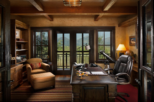 Montana Family Compound Rustic Home Office