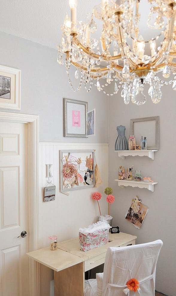 Inspiration for a shabby-chic style craft room remodel in San Diego