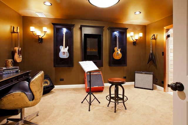 Music And Guitar Room Transitional Home Office Chicago By Danielle B Interiors Inc