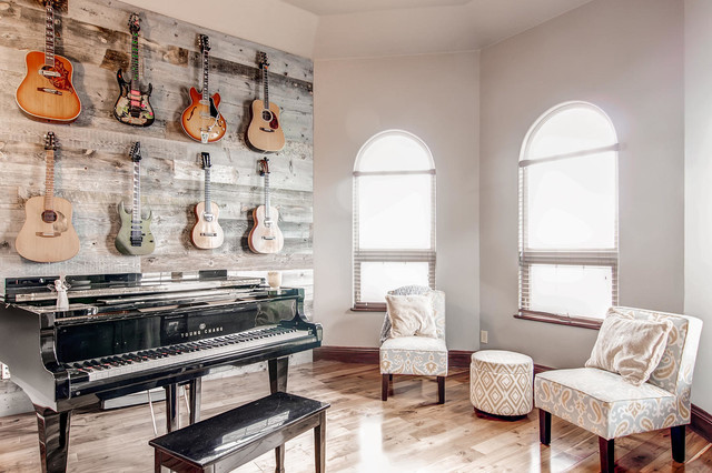 Music Room - Guitar Wall Piano Room - Rustic - Home Office - other metro