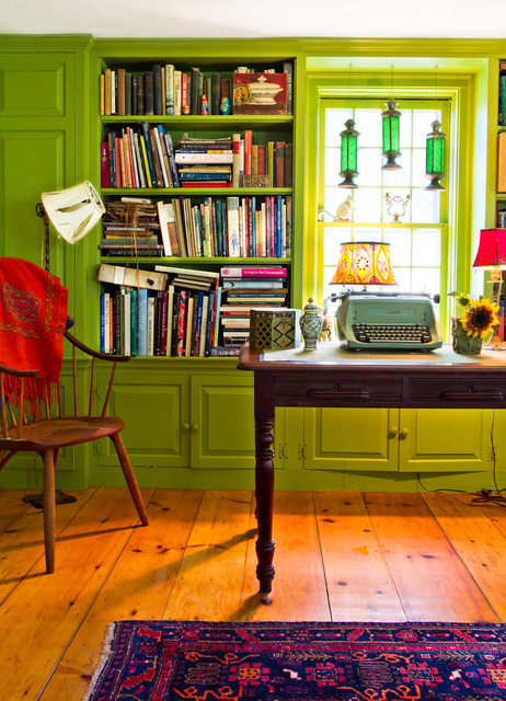 My Houzz An Antique Cape Cod House Explodes With Color Farmhouse Home Office