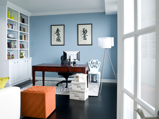 Wonderful Example Of A Transitional Freestanding Desk Home Office Design In Chicago  With Blue Walls Part 28