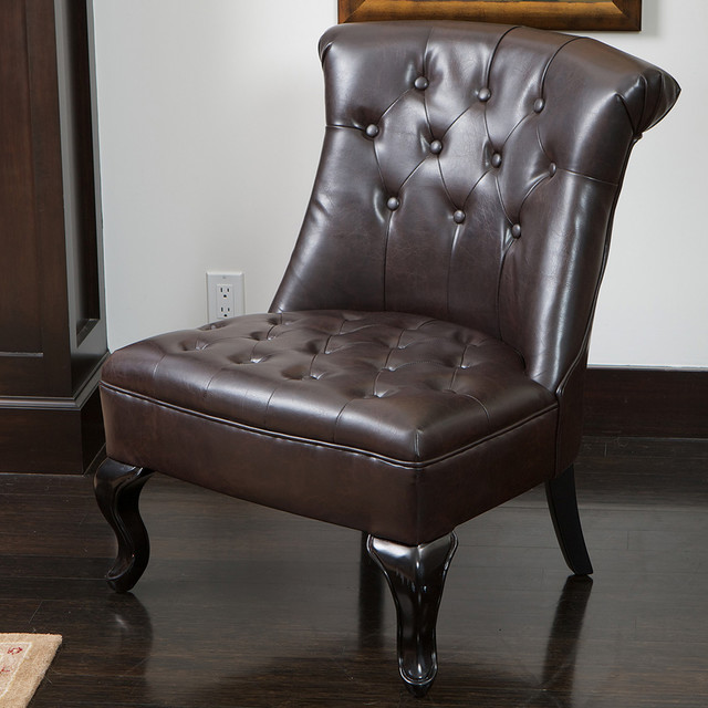 nathan tufted brown leather accent chair modern home office los