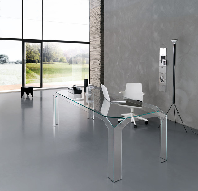 Nervi glass office desk by tonelli design Designer glass computer desk
