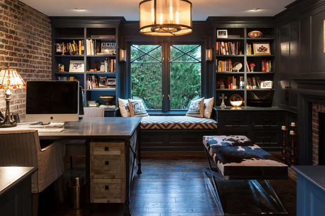 Inspiration For A Mid Sized Industrial Freestanding Desk Dark Wood Floor  Study Room Remodel In