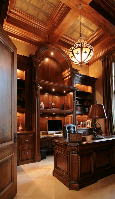 New tuscan home traditional home office library for Kitchen library portland