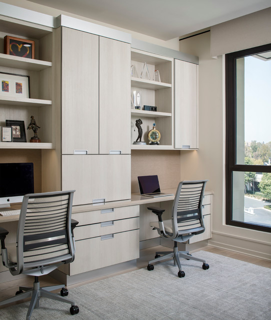 Newport Coast Home Office with Light Cabinets contemporary-home-office