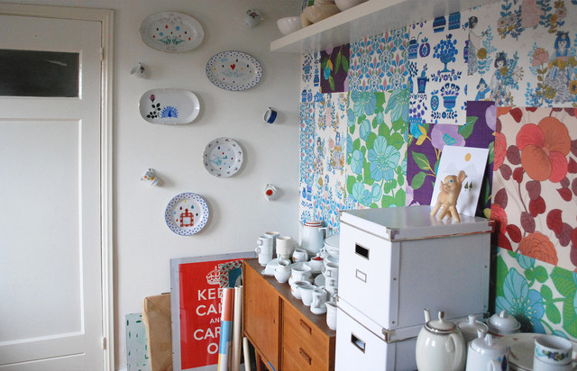 eclectic home office Nina van de Goor's Home - Studio