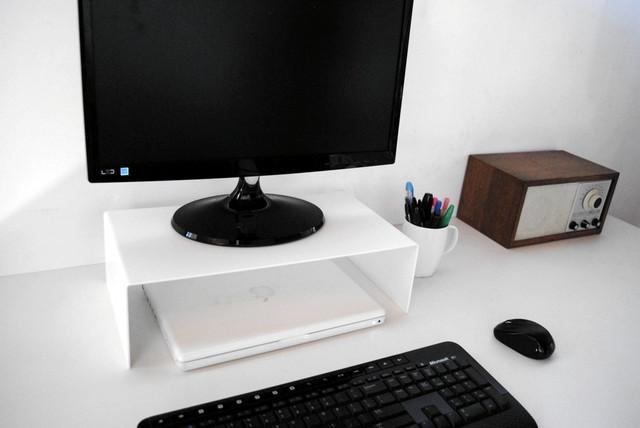No 1 monitor stand modern home office portland by for Modern office decor accessories