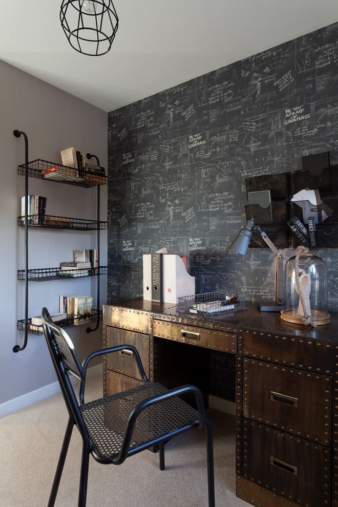 Inspiration for a mid-sized contemporary freestanding desk carpeted study room remodel in Gloucestershire with multicolored walls