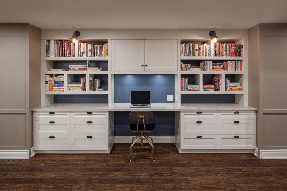 not your ordinary basement home office transitional