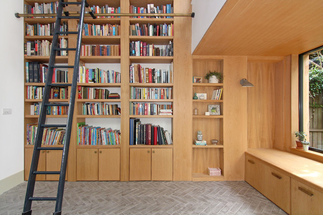 Oak Double Height Library And Window Seat Modern Home