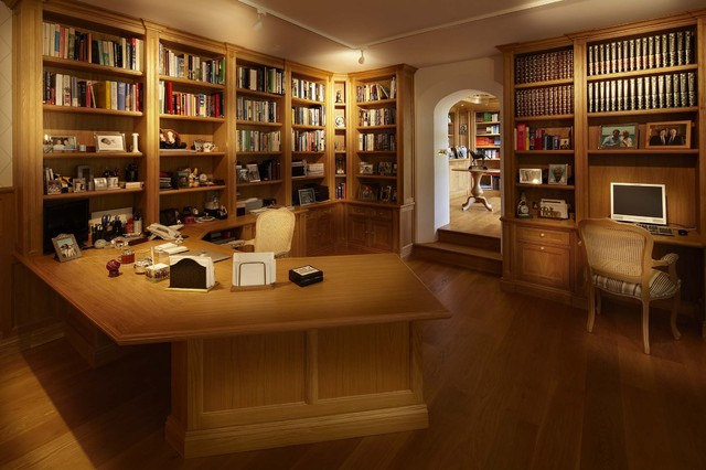 Oak Libruary Francis Traditional Home Office And Library
