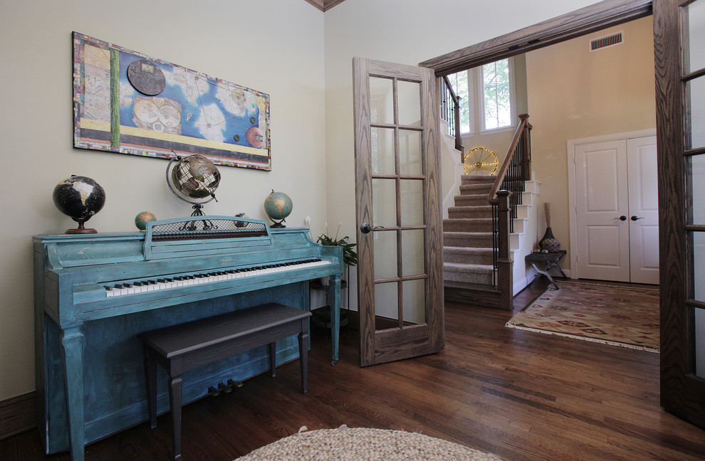 Example of a cottage dark wood floor home office design in Dallas with white walls