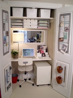 creating a home office can be a piece of wood perched on cabinets