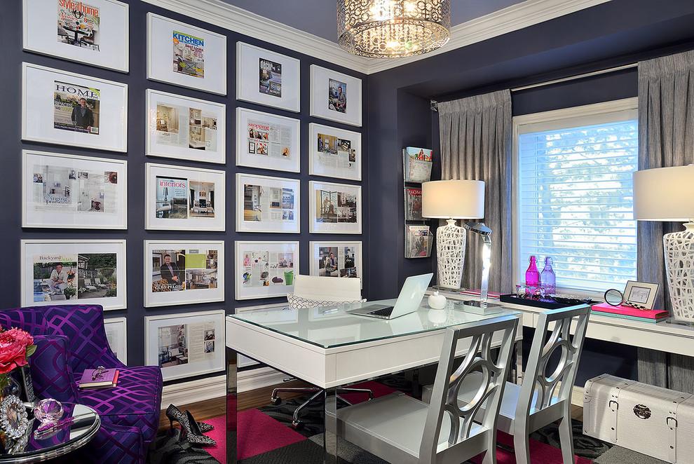 Transitional freestanding desk study room photo in Toronto