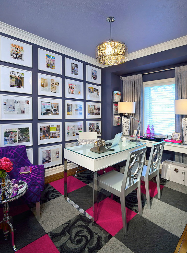 Trendy home office photo in Toronto with purple walls